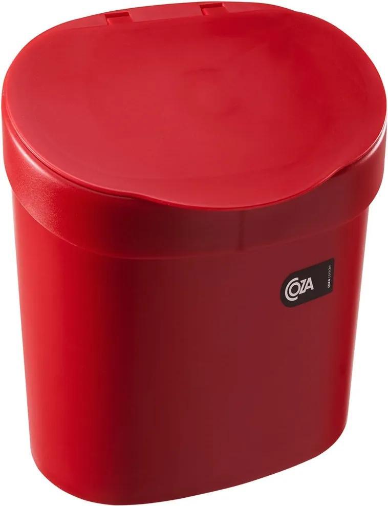 Lixeira Para Pia de Cozinha com Tampa 2,5 Litros Vermelha
