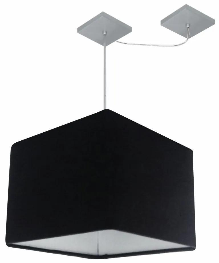 Lustre Pendente Quad C/ Desvio Md-4269 Cúpula em Tecido 30/40x40cm Preto - Bivolt