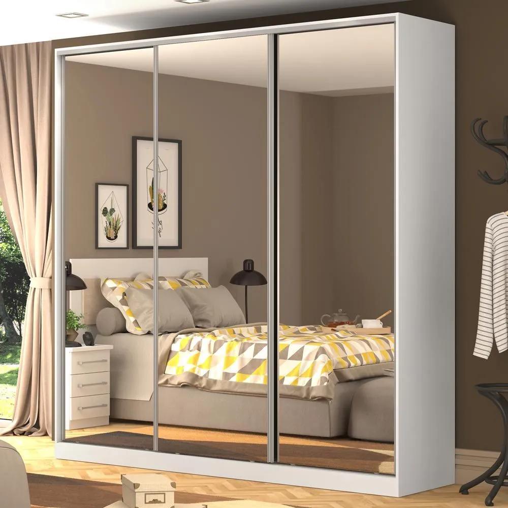 Guarda-Roupa Casal 3 Portas Correr 3 Espelhos 100% Mdf Rc3003 Branco - Nova Mobile