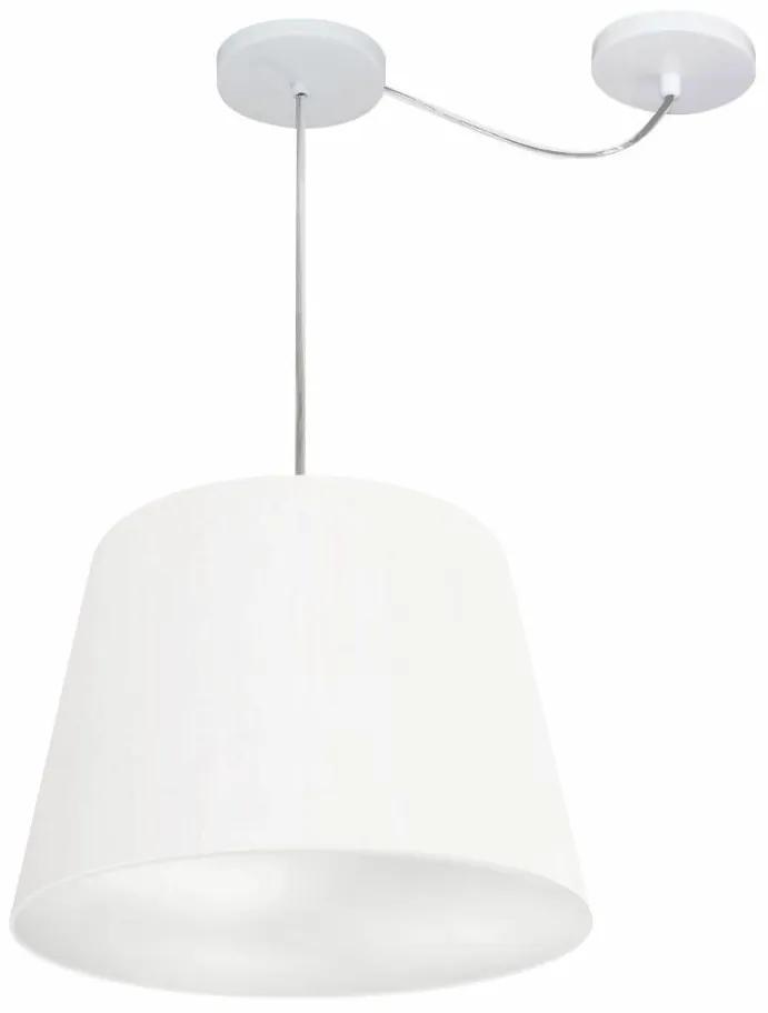 Lustre Pendente Cone Com Desvio de Centro Vivare Md-4276 Cúpula em Tecido 30x40cm - Bivolt - Branco - 110V/220V (Bivolt)