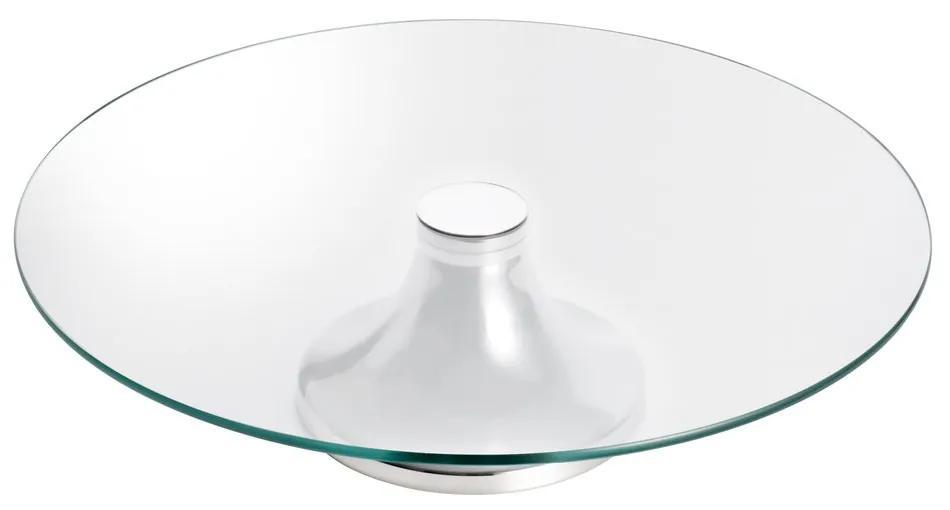 Prato Para Bolo Vidro Com Pé Inox Monaco 40cm 8514 Wolff