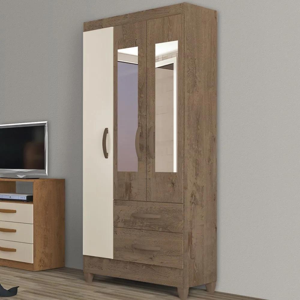 Guarda-Roupa Solteiro Real 3 Portas 2 Gavetas com Espelho Mocaccino Rústico/Natura Off Whitte - Atualle Móveis