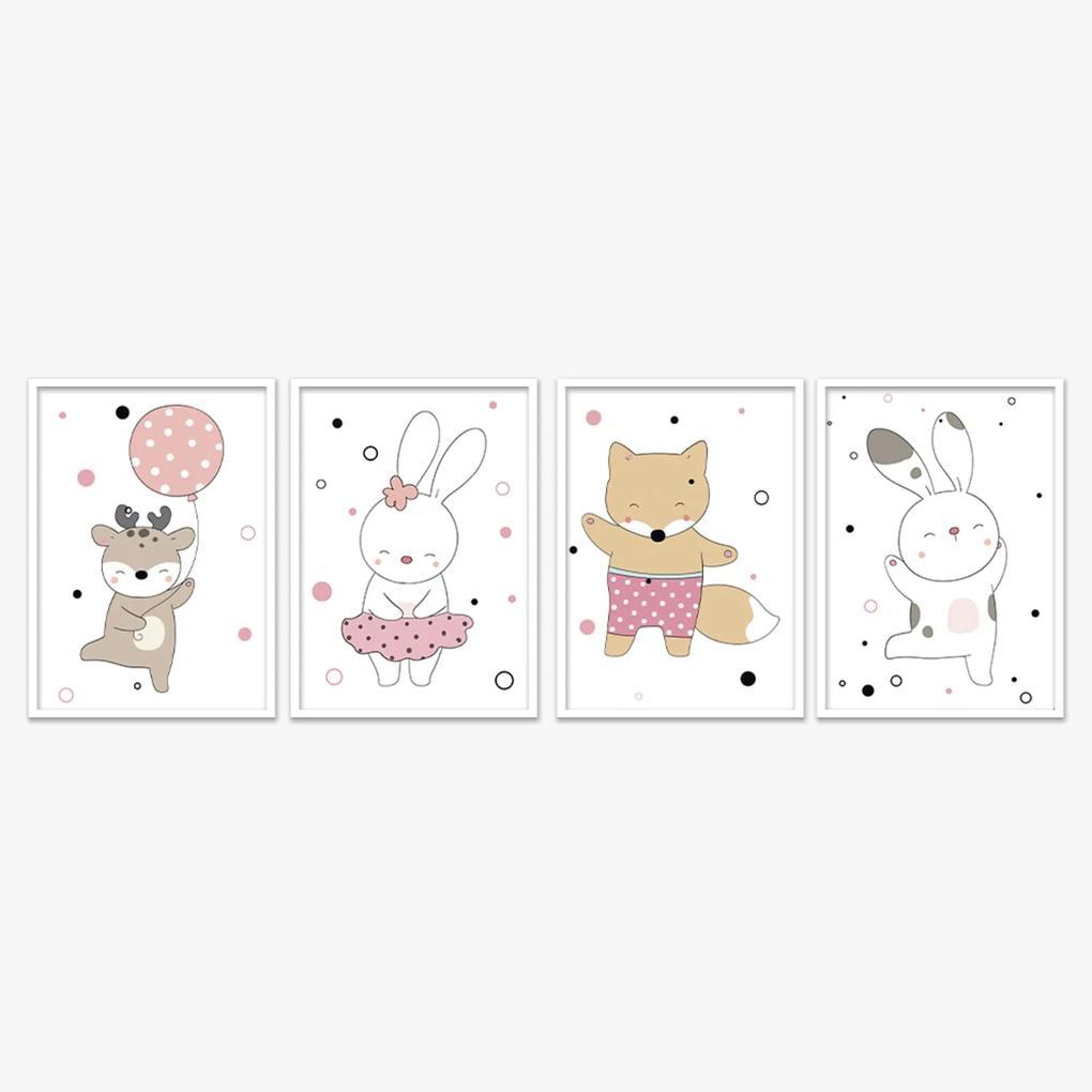Quadro 40x120cm Infantil Animais Felizes Moldura Branca com Vidro Decorativo