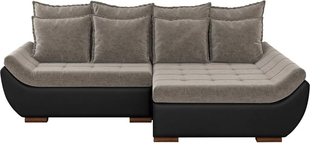 Sofá com Chaise Direita 5 Lugares Sala de Estar 337cm Inglês Linho Marrom/Corino Preto - Gran Belo