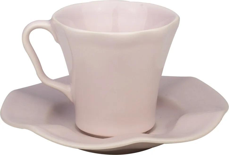 Conjunto 6 Xícaras Cerâmica Para Café Com Pires Bergama Lilac 125ml