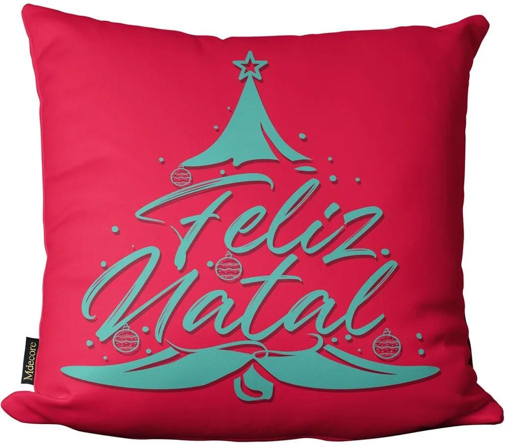Capa para Almofada Mdecore Feliz Natal Colorido -45x45cm