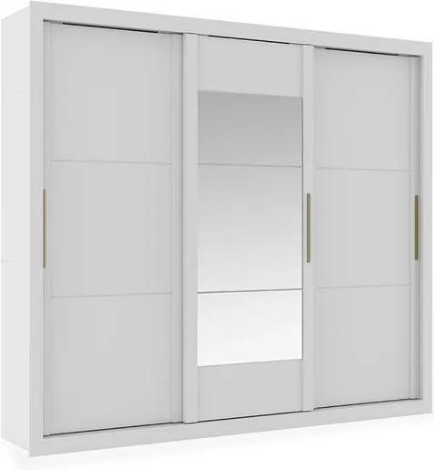Armário 3 Portas de Correr com Espelho Central, Branco com Native, Flat