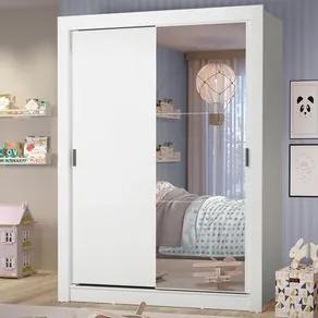 Guarda-Roupa Infantil Madesa Theo 2 Portas de Correr com Espelho 4 Gavetas Branco Cor:Branco