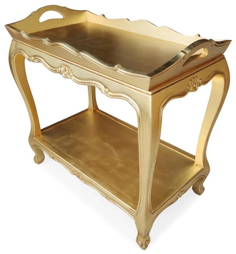 Carrinho de Bar Nobilis Entalhado Madeira Maciça Pintura Dourada Design de Luxo