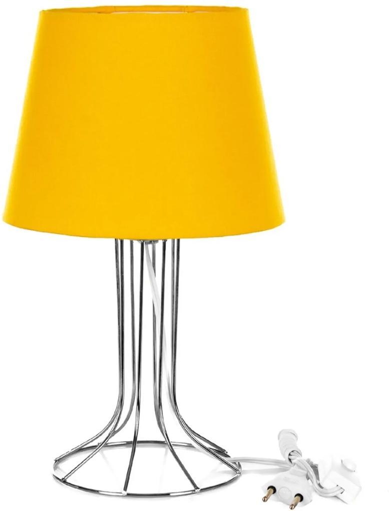 Abajur Torre Dome Amarelo Com Aramado Cromado