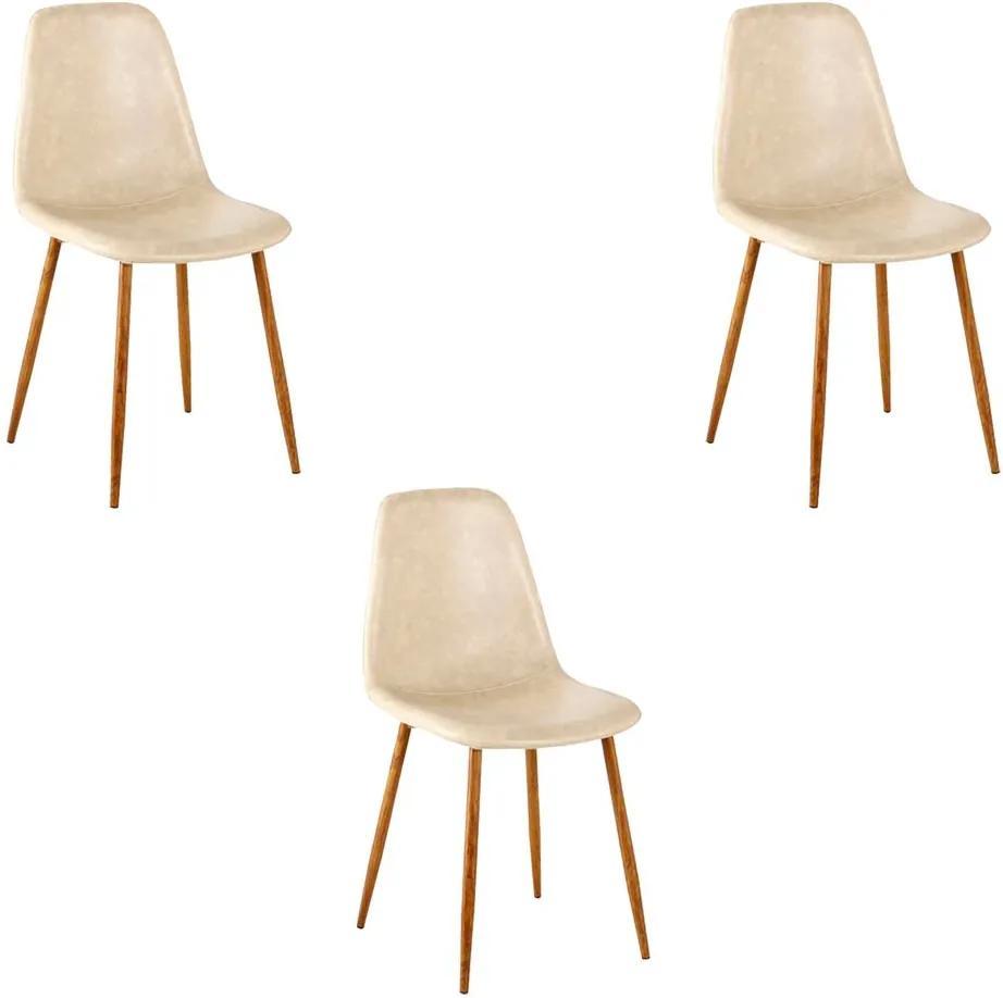 Kit 3 Cadeira Decorativa Sala e Escritório Base Nogueira Emotion PU Bege- Gran Belo