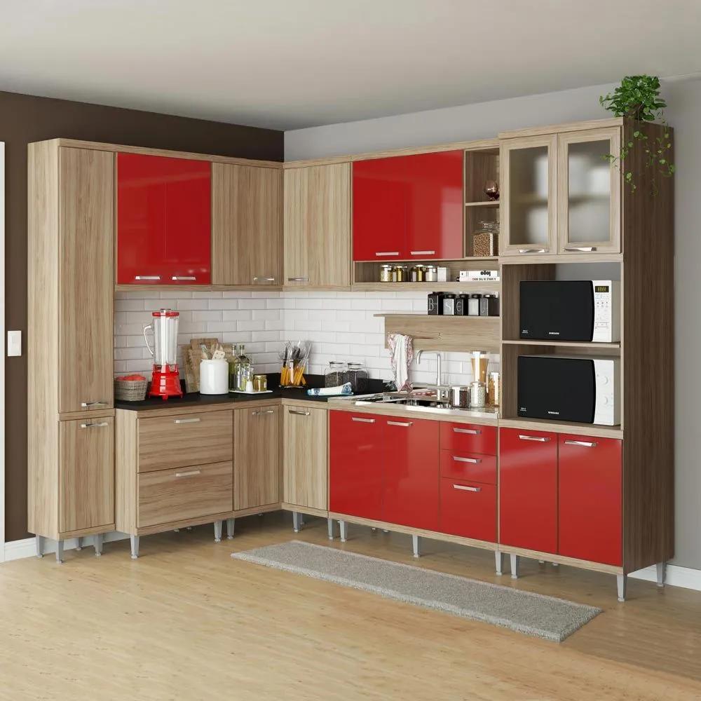 Cozinha Compacta 16 Portas 5 Gavetas Sicília 5802 Vermelho/Argila - Multimóveis