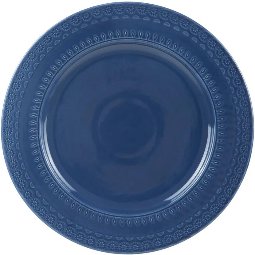 Jogo Prato Raso Porcelana 6 Peças Grace Azul 27cm 17560 Wolff
