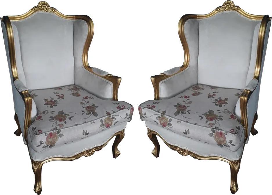Par de Poltronas Luis XV em Madeira Folheada a Ouro Estofado