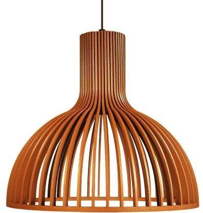Luminária Pendente de Madeira   Cor: Caramelo   Soq: E-27   29x26cm   Mod: Kuma