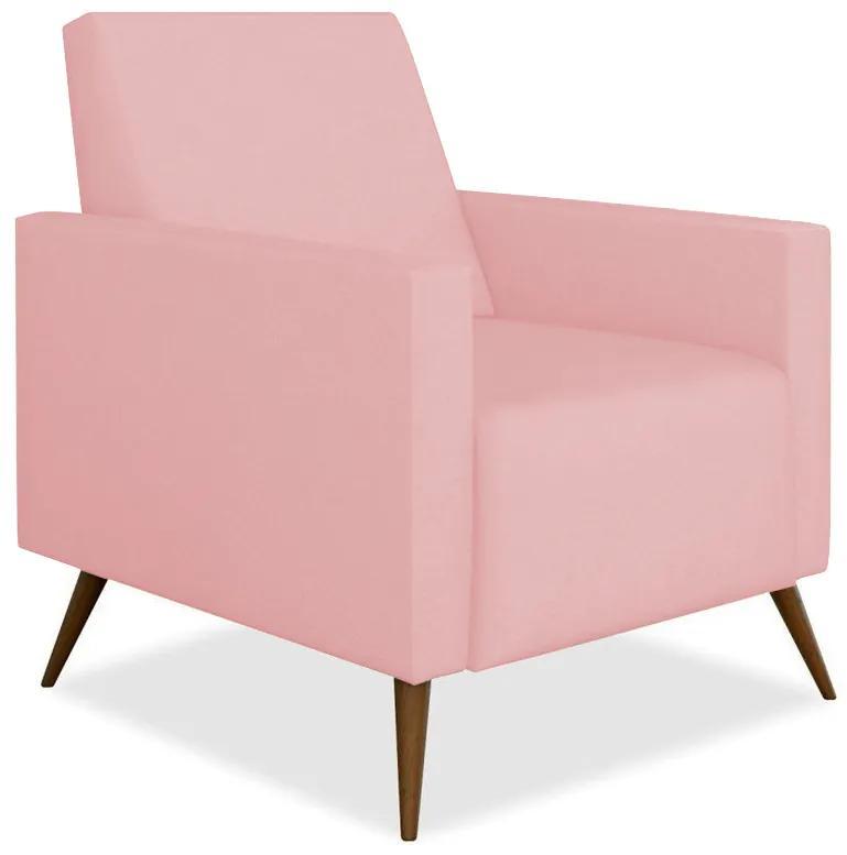 Poltrona Decorativa Amamentação Gabi Pé Palito Suede Rosê