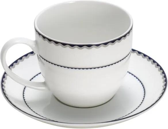 Jogo De Xícaras De Chá Porcelana 6 Peças Bone China Blue Silver Alto Relevo 270ml 25066 Wolff