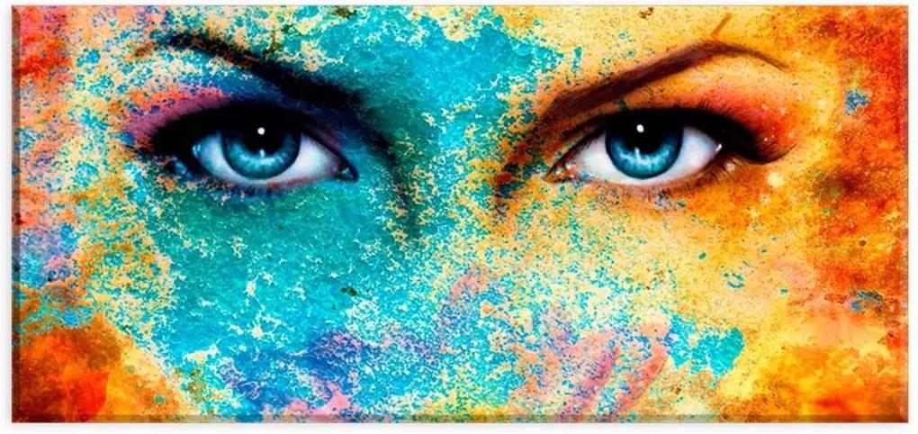 Tela Decorativa Slim Olhar Mulher Colorido Unico Love Decor