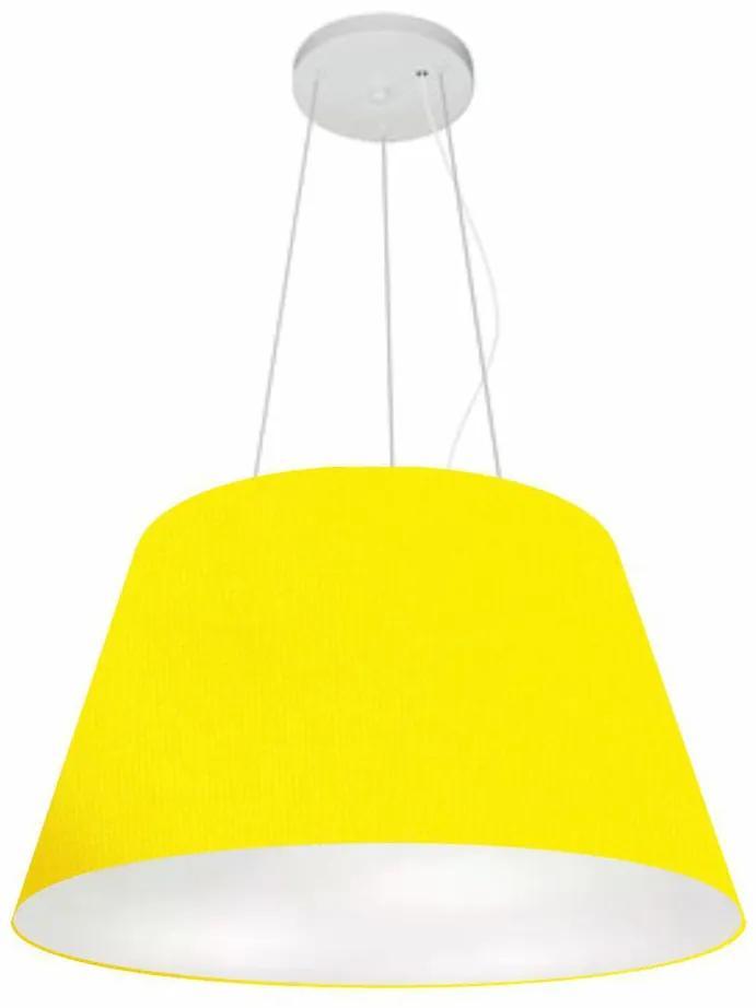 Lustre Pendente Cone Vivare Md-4141 Cúpula em Tecido 30/50x35cm - Bivolt - Amarelo - 110V/220V (Bivolt)