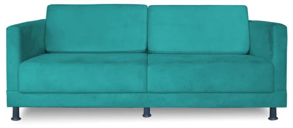 Sofá 2 lugares Arezzo 2,00 m Suede Azul Tiffany