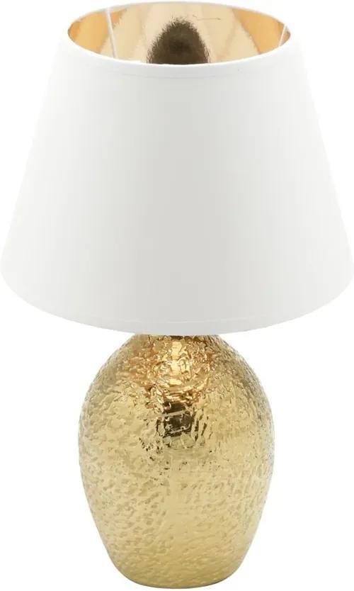 Abajour Cerâmica Bivolt Branco/Dourado 25x41cm 60561 Royal