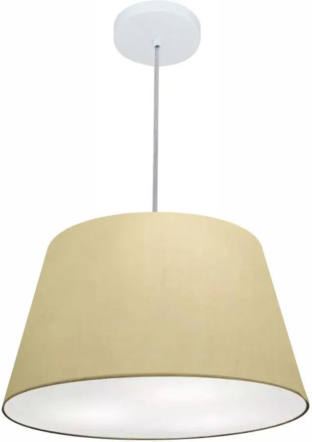 Lustre Pendente Cone Md-4021 Cúpula em Tecido 21/40x30cm Algodão Crú - Bivolt