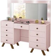 Penteadeira Camarim Com Espelho 9 Gavetas Mila Rosê - Móveis Lupi