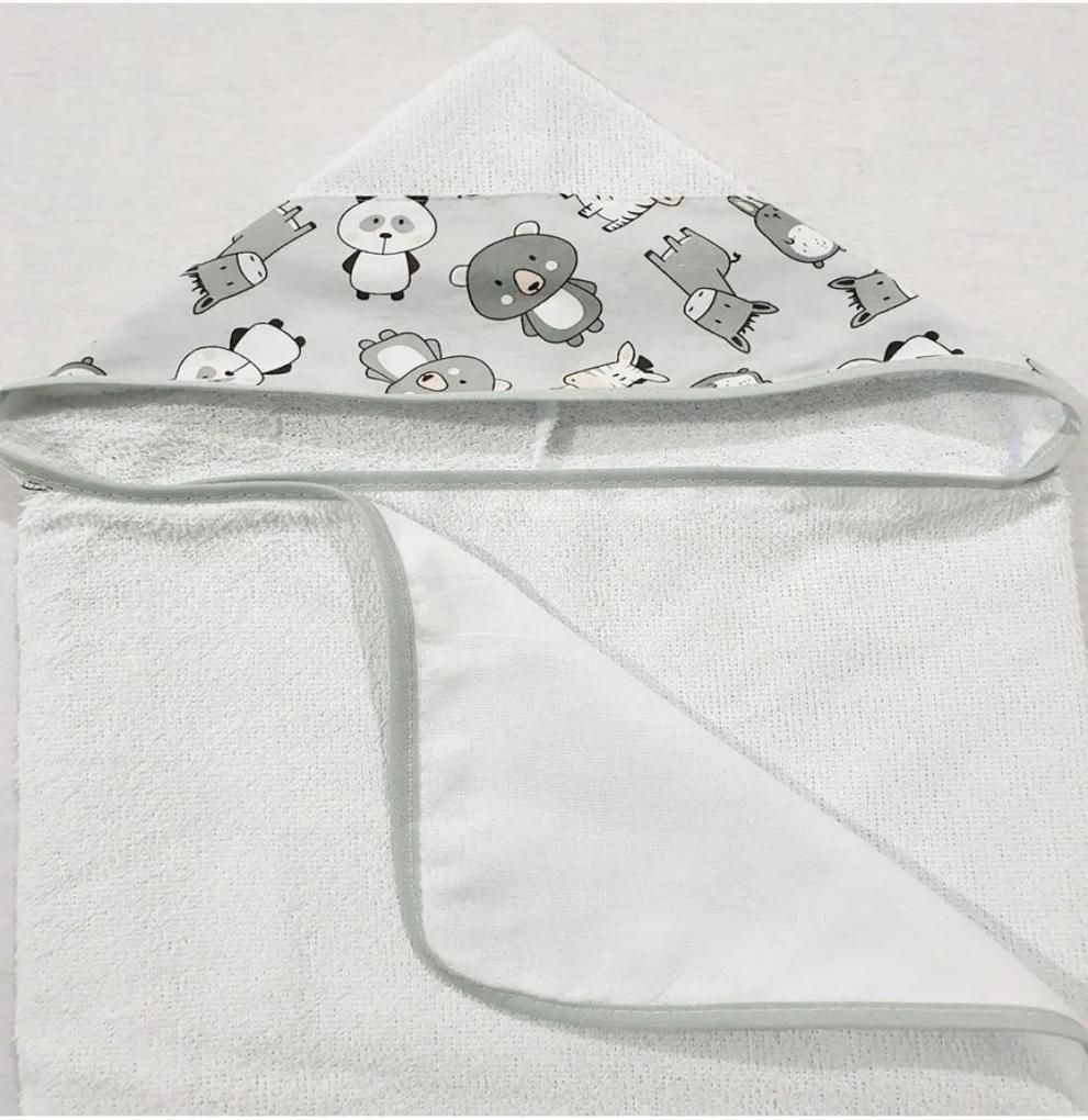 Toalha de Banho Revestida com Capuz Bichinhos Cinza