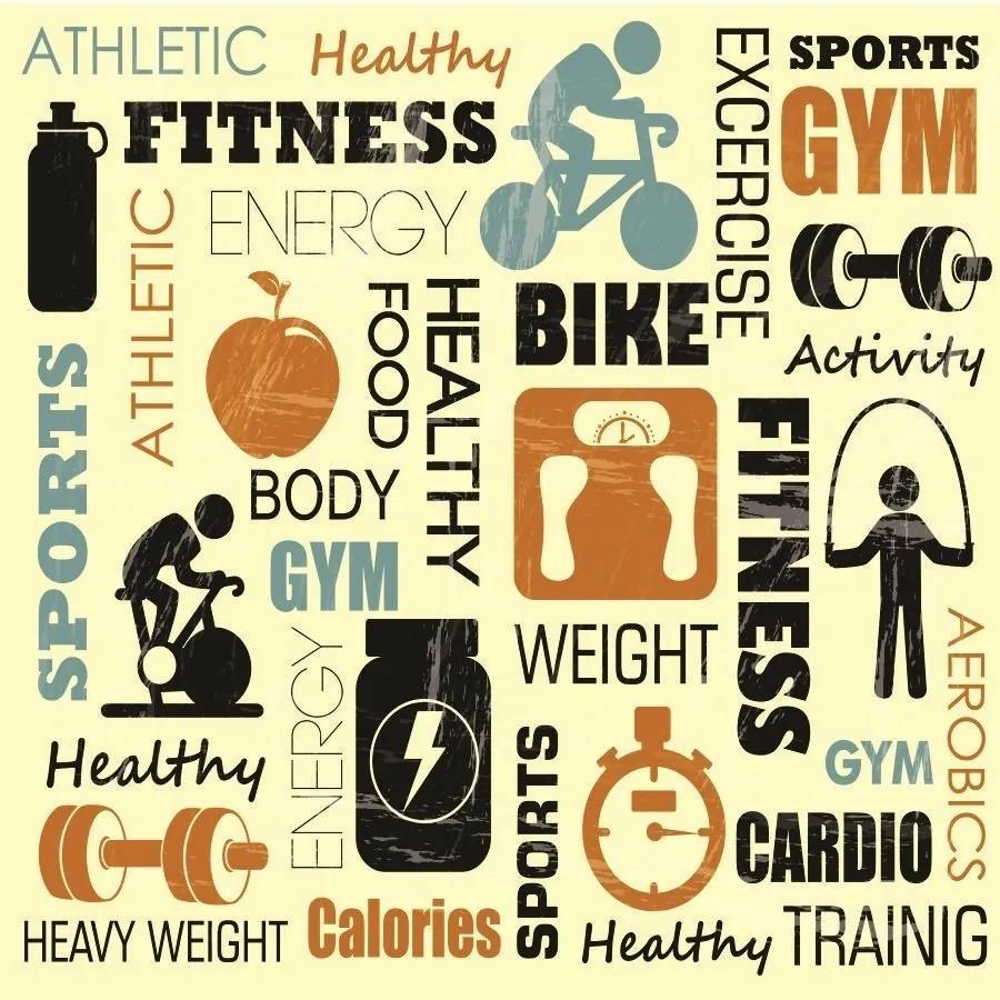 Papel De Parede Adesivo Fitness (0,58m x 2,50m)