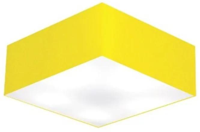 Plafon Quadrado Vivare Md-3001 Cúpula em Tecido 12/35x35cm - Bivolt - Amarelo - 110V/220V (Bivolt)