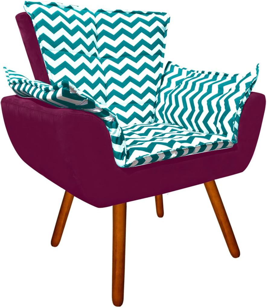 Poltrona Decorativa Opala Suede Composê Estampado Zig Zag Verde Tiffany D78 e Suede Vinho - D'Rossi