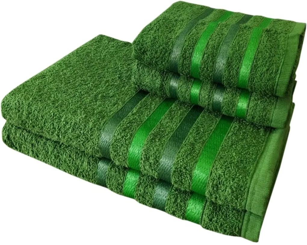 Jogo 4 Toalhas 2 Banho 2 Rosto - Onix  Verde