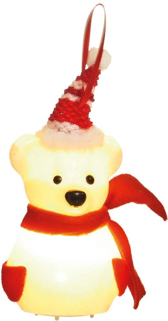Enfeite Árvore Natal Urso Com Cachecol E Gorro Com Led 10Cm