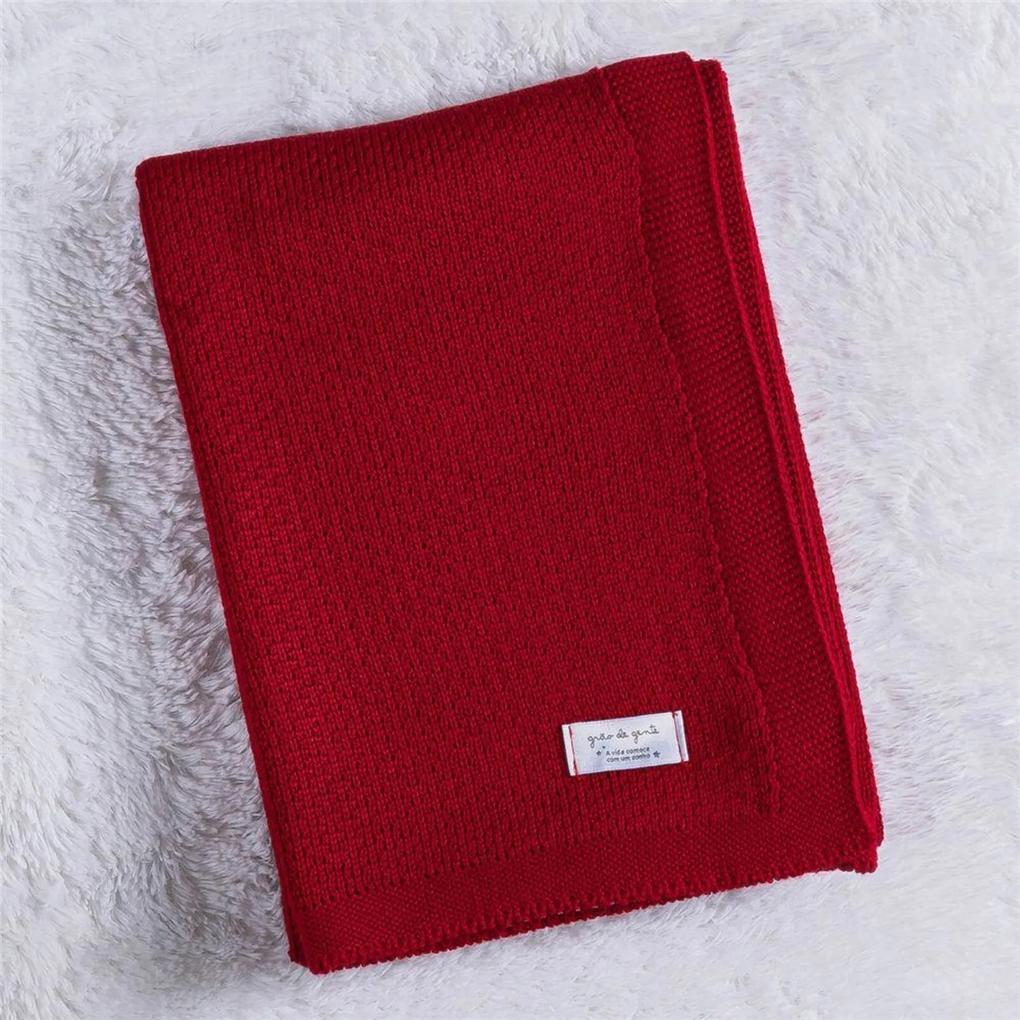 Manta Bebê Vermelho Tricot Ponto Arroz 80cm Grão de Gente Vermelho