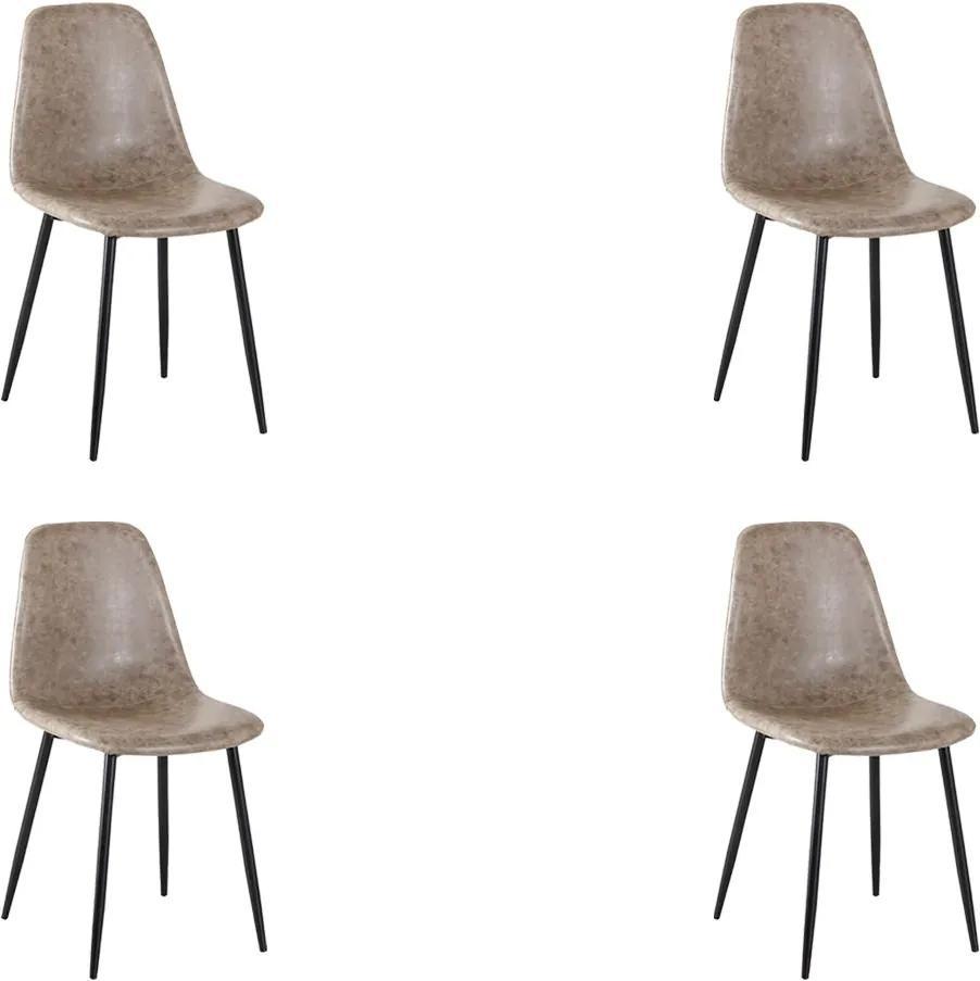 Kit 4 Cadeira Decorativa Sala e Escritório Base Preta Emotion PU Cinza Vintage - Gran Belo