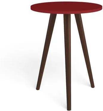 Mesa lateral Redonda Bento com Pés em Madeira Maciça - Vermelho