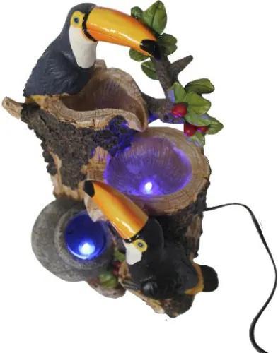 Fonte de Água com Árvore e Dois Tucanos com Luz LED (30cm) - 220v
