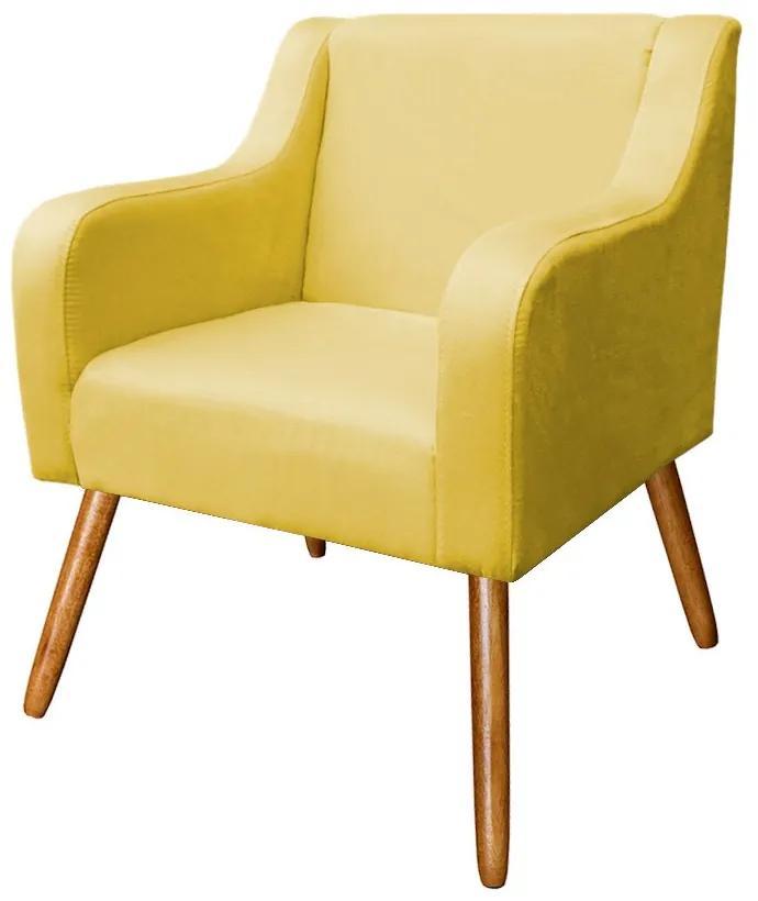 Poltrona Decorativa para Sala Agatha Suede Amarelo