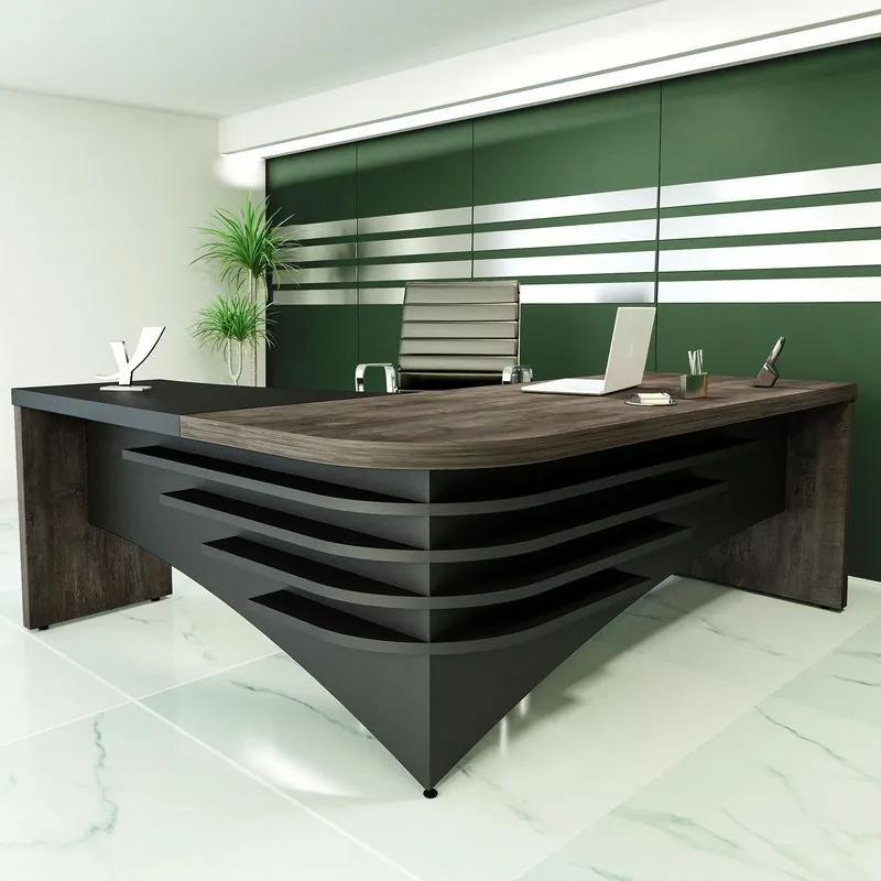 Mesa Para Escritório Em L   Diretor  Artany  LD   Terrano/Preto