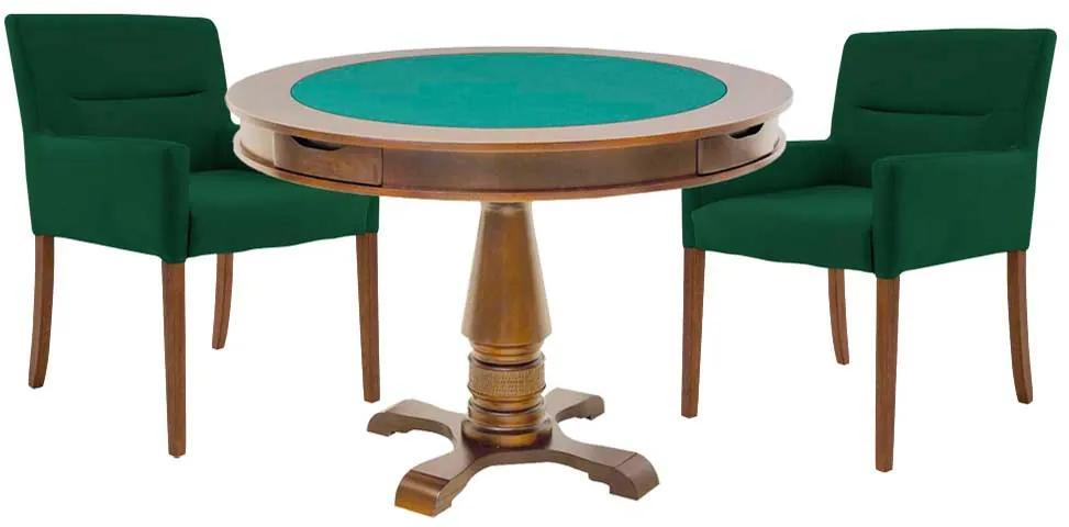 Mesa de Jogos Carteado Victoria Redonda Tampo Reversível Amêndoa com 2 Cadeiras Vicenza Verde - Gran Belo