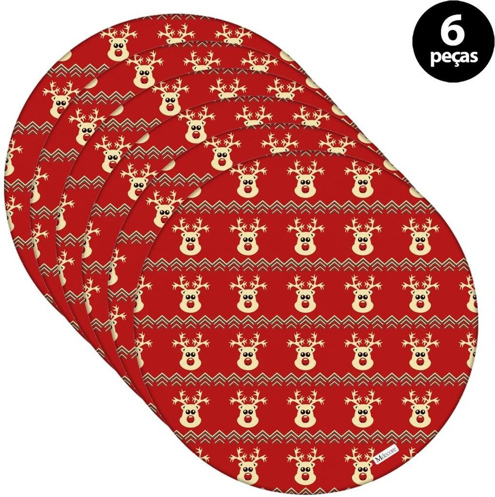 Sousplat Mdecore Natal Renas 32x32cm Vermelho 6pçs