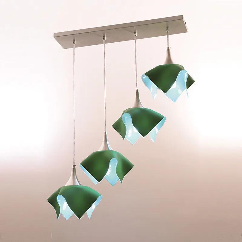 Pendente Color para 4 Lâmpadas Trilho Verde