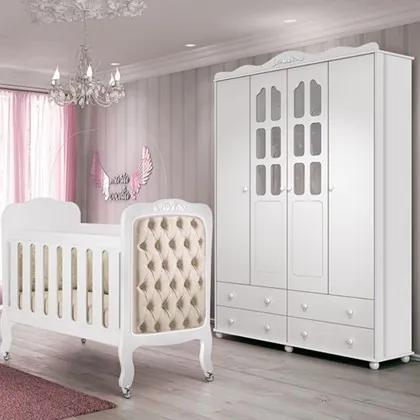 Quarto Infantil Guarda Roupa Provence e Berço Imperial Branco - Planet Baby