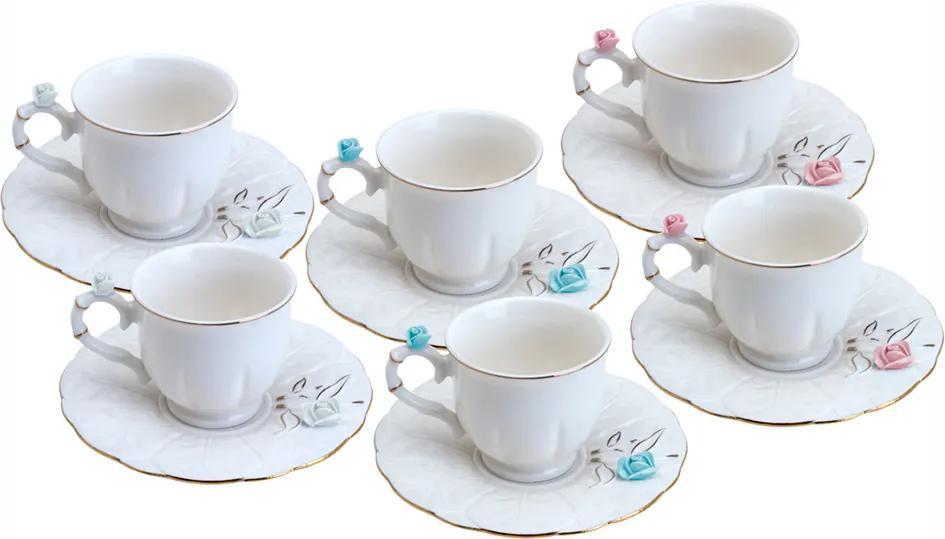 Conjunto de 6 Xícaras de Porcelana Wolff Para Café Flower Round 100ml – Plate Colorido