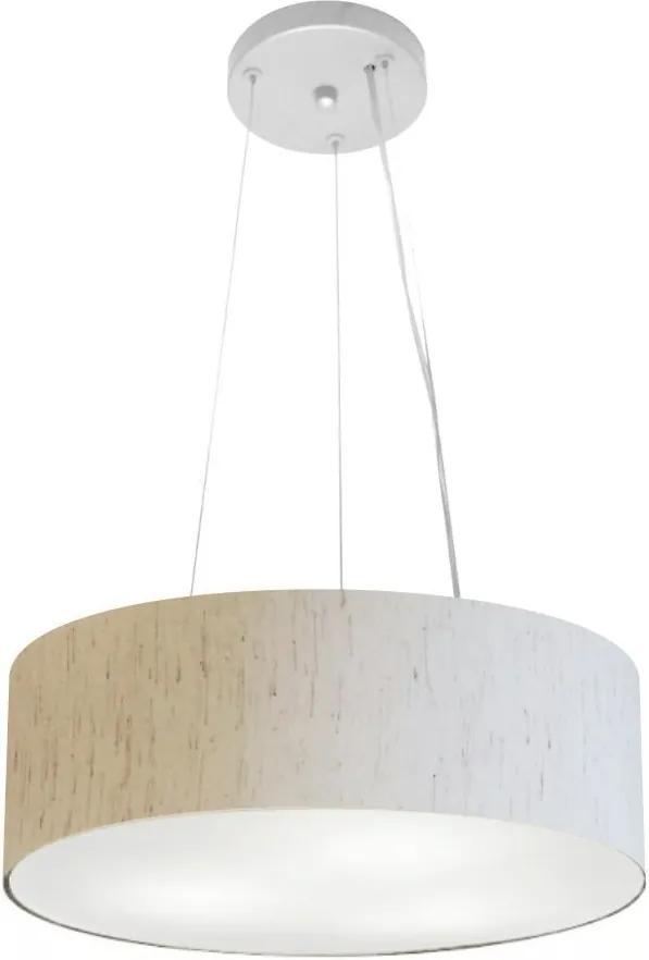 Lustre Pendente Cilíndrico Md-4181 Cúpula em Tecido 40x15cm Linho Bege - Bivolt