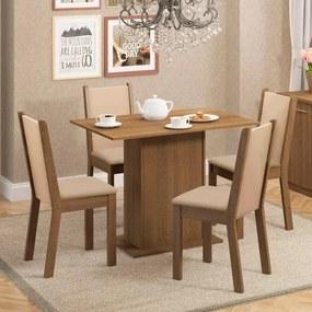 Sala de Jantar Talita Mesa com 4 Cadeiras - Rústico/ Crema/ Pérola