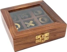 Caixa Jogo da Velha em Madeira e Bronze