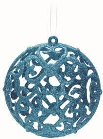 Bola Árvore Natal Arabesco Vazado Azul Claro 6 Peças 10 Cm