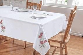 Toalha De Mesa DOURADOS ENXOVAIS Primavera 2,50X1,40 Branco/Vermelho