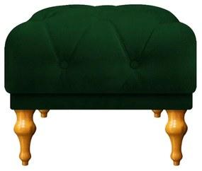 Puff Decorativo Dani Pés Provençais Suede Verde - ADJ Decor